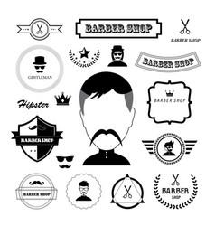set of vintage barber badges and labels vector image