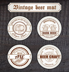 Set of vintage hand drawn beer mat with logo on vector