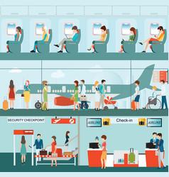 Set passenger airline at airport terminal vector