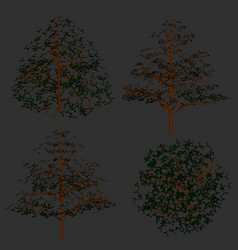 set with detailed trees side view and top 3d vector image