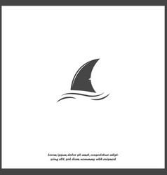 Shark fin icon fin in water on white isolated vector