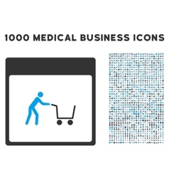 Shopping Cart Calendar Page Icon With 1000 Medical vector image