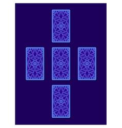 Simple cross tarot spread tarot cards back side vector