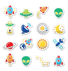 Space and UFO icons set vector