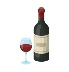 Spanish wine bottle with glass icon in cartoon vector image