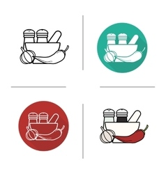 Spices flat design linear and color icons set vector image