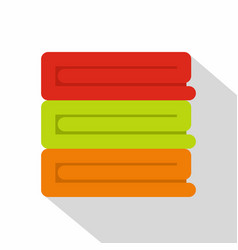 Stack of colored towels icon flat style vector