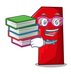 Student with book plastic number one isolated on vector