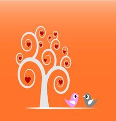 Swirl tree and birds vector