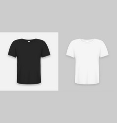 t-shirt realistic mockup in white and black color vector image