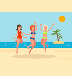three girls jump on beach background vector image