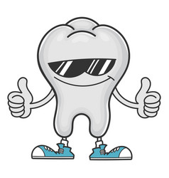 Tooth cartoon with sunglasses giving thumbs up vector