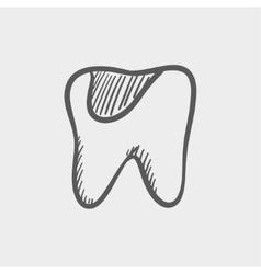 Tooth decay sketch icon vector image