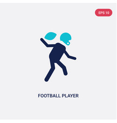 Two color football player icon from american vector