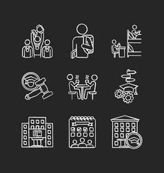 university life chalk white icons set on black vector image
