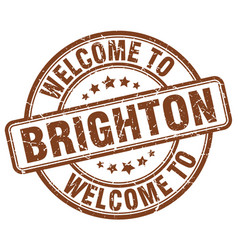Welcome to brighton brown round vintage stamp vector