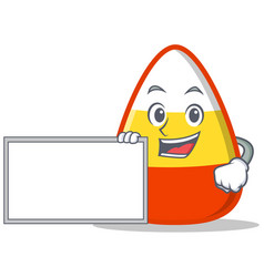 With board candy corn character cartoon vector
