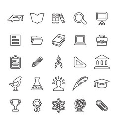 25 outline universal education icons vector image vector image