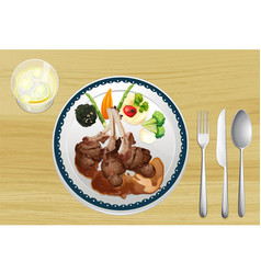 A meat and salad in one dish vector image
