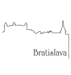 bratislava city one line drawing background vector image