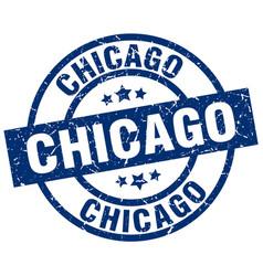 Chicago blue round grunge stamp vector