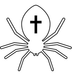 outline black spider with cross vector image