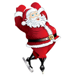 skating santa in pose isolated vector image vector image
