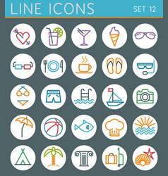 Travel line icons set Summer holidays web design vector image