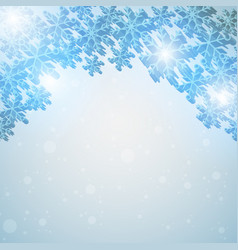 winter blue sky with falling snow vector image vector image