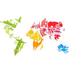 World map made of landmarks vector image