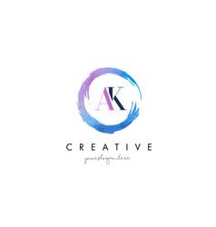 ak letter logo circular purple splash brush vector image vector image