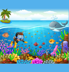 cartoon diver under the sea vector image vector image