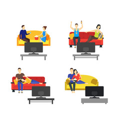 cartoon romantic couple watching tv set vector image