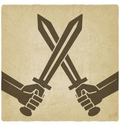 crossed swords old background vector image