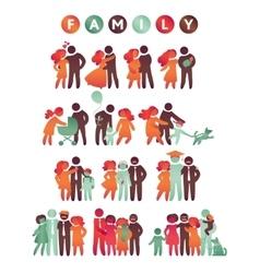 Happy family icon multicolored set in simple vector image vector image