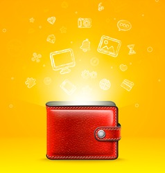 Leather Wallet with Glowing Icons vector image vector image
