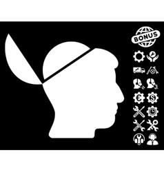 Open Brain Icon with Tools Bonus vector image vector image