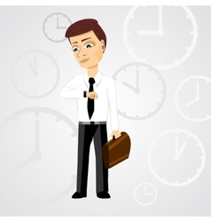 business man with briefcase checking time vector image