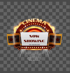 vintage cinema sign isolated vector image