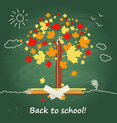 back to school background or card with pencils vector image vector image