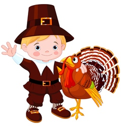 pilgrim with turkey vector image