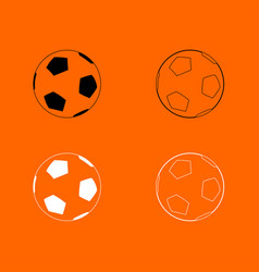 soccer ball black and white set icon vector image vector image