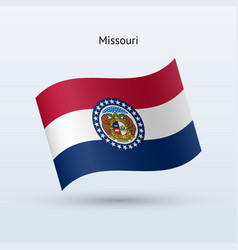 State of missouri flag waving form vector