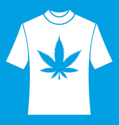 t-shirt with print of cannabis icon white vector image