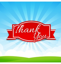 Thank you text with tag ribbon on the nature vector image vector image