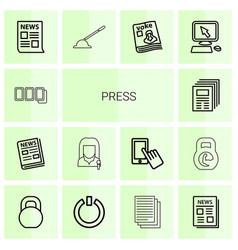 14 press icons vector