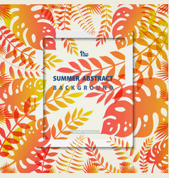 abstract summer frame leaves nature living coral vector image