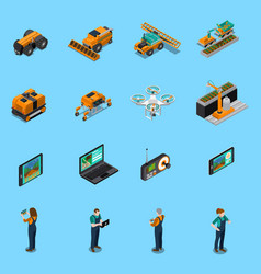 Agricultural robots isometric icons vector