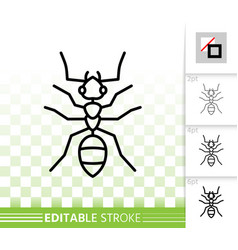Ant insect simple black thin line icon vector