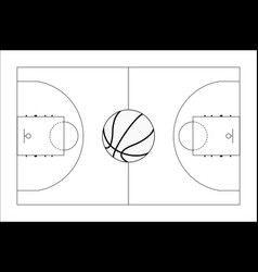 basketball court ball top view vector image